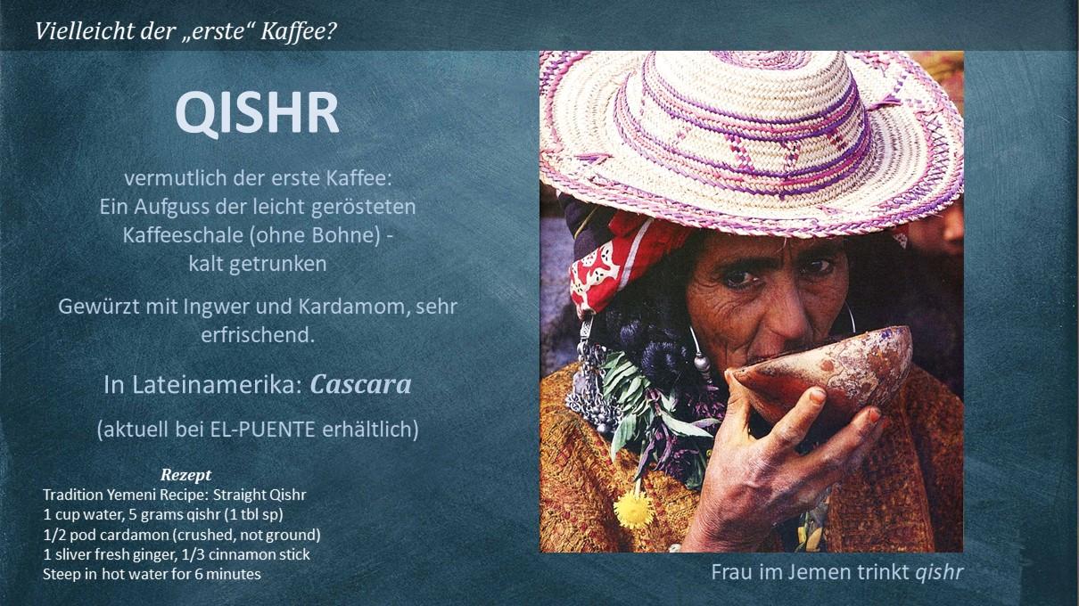 Eine Frau im Jemen trinkt Qishr