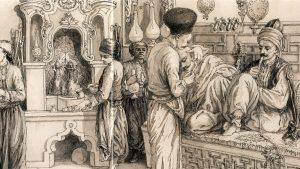 Kaffeehaus-Szene im Osmanischen Reich: Kaffee-Kochecke, Wasserpfeifen, Barbier bei der Arbeit.