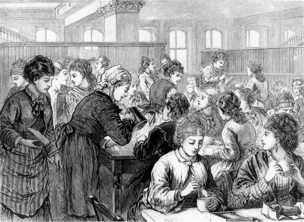 Kaffeepause von Arbeiterinnen in New York1874. (Ulla Heise, Sammlung Eduscho/Bremen)