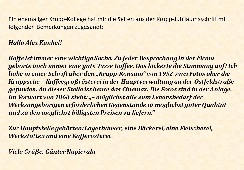 Zuschrift von Günter Napierala an Alex Kunkel.