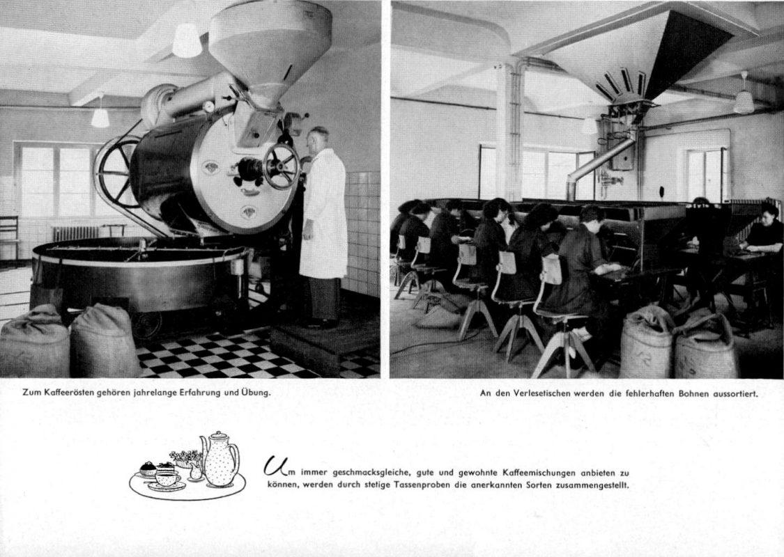 Aus der Jubiläumsschrift der Krupp'schen Konsumanstalt 1958 zum hundertjährigen Jubiläum - die eigene Kaffeerösterei. (Kopien von privat zugesandt)