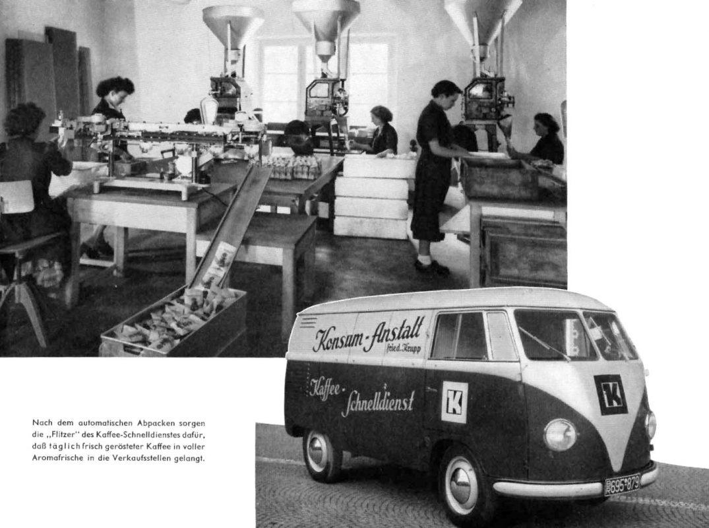 """Aus der Jubiläumsschrift der Krupp'schen Konsumanstalt 1958. Der VW-Bulli als """"Kaffee-Flitzer"""", der die frisch gerösteten Bohnen in die Verkaufsstellen bringt."""