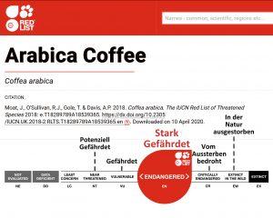 Kaffee ist auf der Internationalen Roten Liste der gefährdeten Arten als STARK GEFÄHRDET eingestuft.