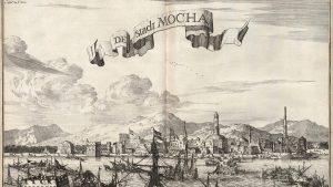 Hafenstadt Mokka (Mocha) im Jemen. Von hier wurde bis ins 17. Jahrhundert hinein der Kaffee aus dem bergigen Hinterland überallhin verschifft. die Osmanen hatten das Welthandels-Monopol.