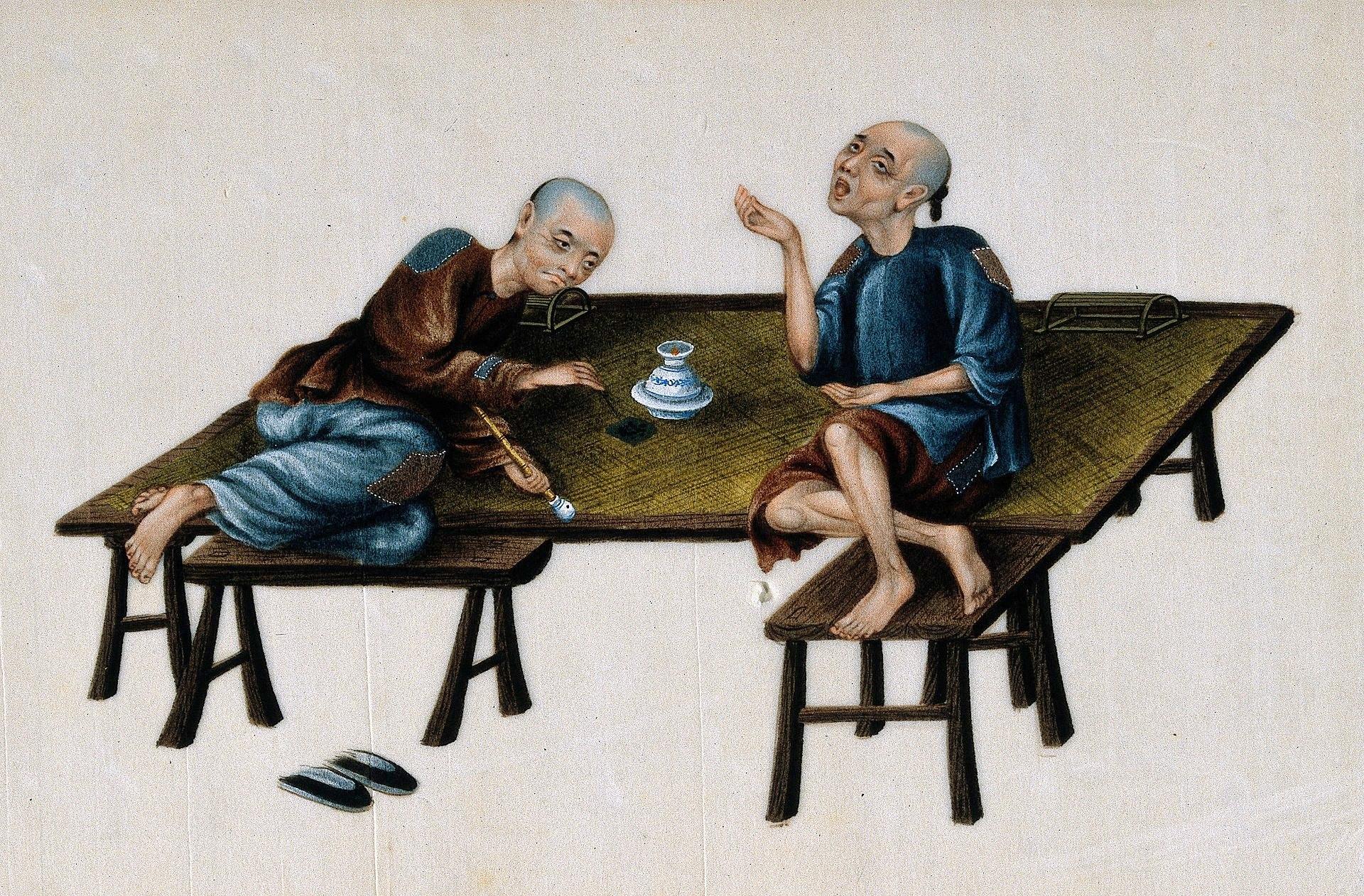 Künstlerische Darstellung verarmter Opiumraucher, 19. Jahrhundert