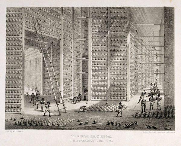 Lithographie des Lagers einer Opiumfabrik in Patna, Britisch-Indien, circa 1850