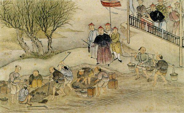 Zeitgenössische chinesische Zeichnung mit dem Motiv der öffentlichen Vernichtung des beschlagnahmten Opiums unter der Aufsicht von Lin Zexu (Datierung 19. Jahrhundert)