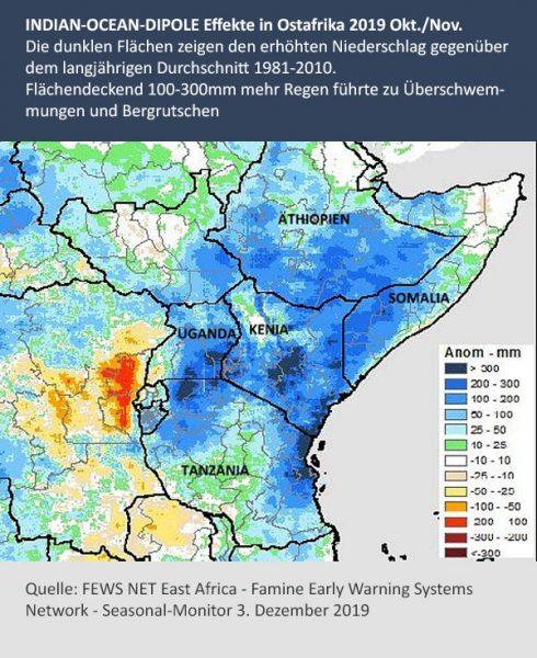 """Extreme Niederschläge in Ostafrika im November/Dezember 2019. Der Extremregen ging in die """"normale"""" Regenzeit im Frühjahr 2020 über."""
