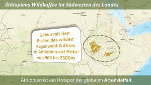 """Die Karte stammt aus der Dokumentation der ROTEN LISTE zur Einstufung des Kaffes als """"Gefährdet"""" (Endangered)."""