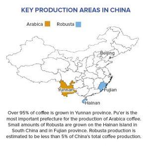 Kaffeeregionen in China