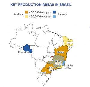 Kaffee-Anbau-Regionen in Brasilien für Arabica und Robusta
