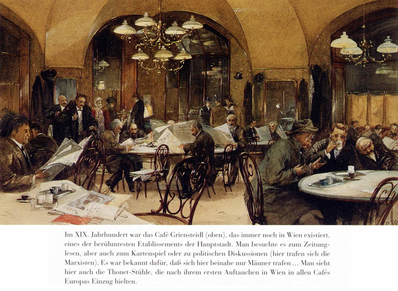 Wien, Café Griensteidl im 19. Jahrhundert mit viel Zeitungslektüre